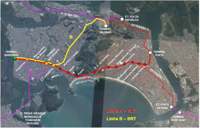 Traçado do VLT em Santos e São Vicente