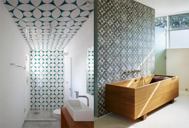 Uso dos Ladrilho Hidráulico na Decoração -> Banheiro Decorado Ladrilho Hidraulico